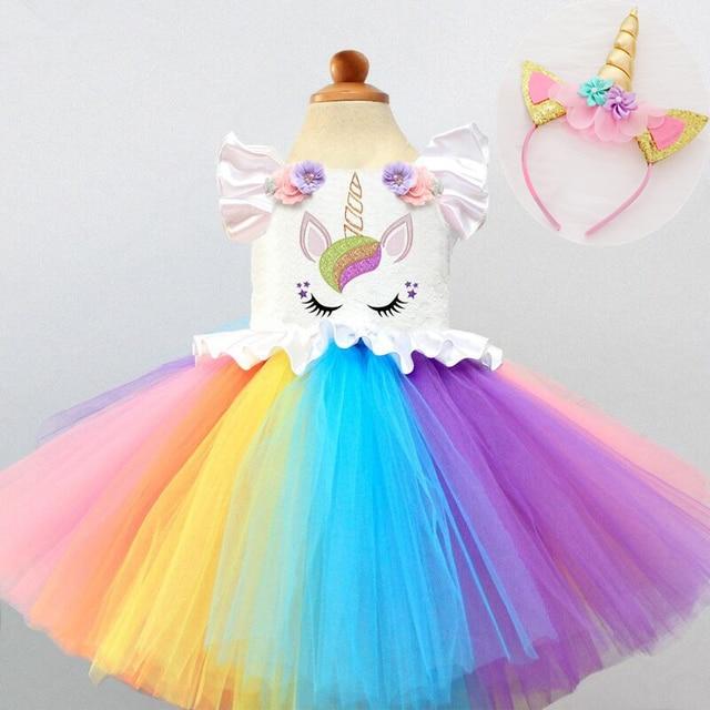 88d923cacf66 Kid Girls Unicorn Rainbow Dresses Princess Girl Halloween Festival Party  Tutu Dress For Baby Girls 2