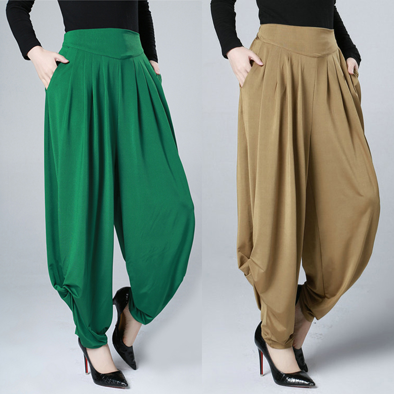 Women Fashion Wide Leg Pants High Waist Harem Pants Square Dance Pants Large Size Loose Leisure Trousers Lantern Pants