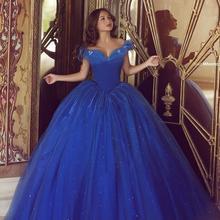 Королевское синее Пышное Дешевое бальное платье с открытыми плечами из тюля, вечерние платья с бисером 16