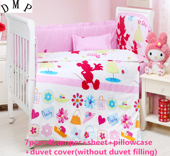 Promotion! 6/7PCS cartoon Baby Crib Bedding Newborn Baby Bedding Set Cute Cartoon , 120*60/120*70cm
