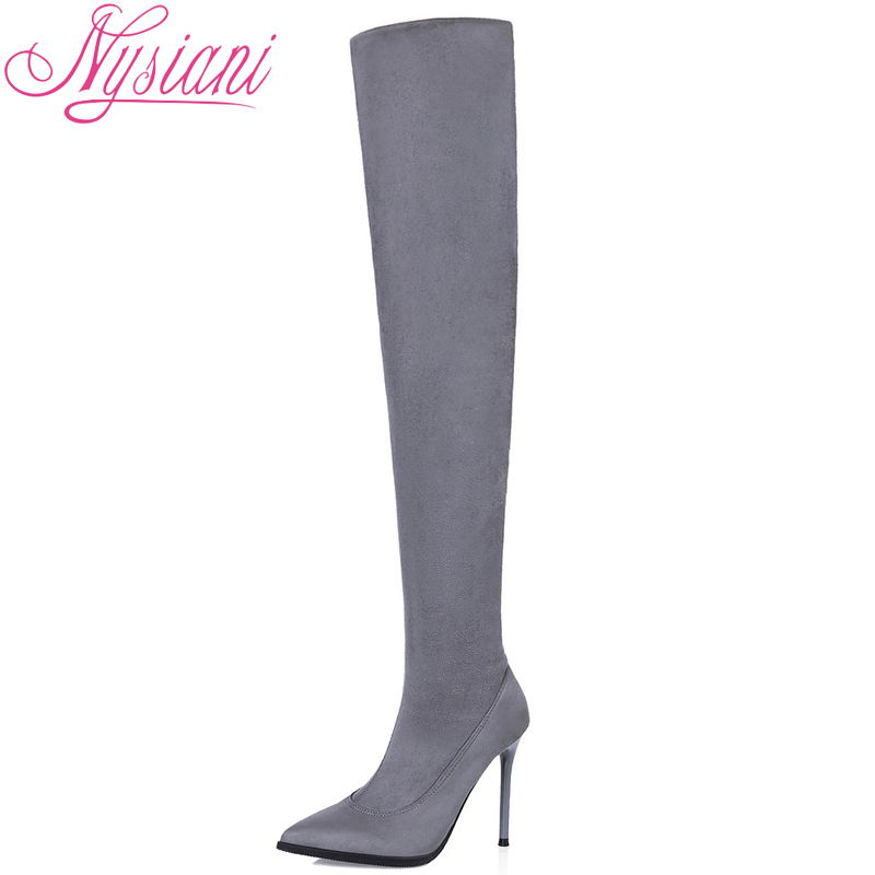 2019 Sexy Boots Over The Knee High Heel Slim Stretch Fabric Pointed Toe Stilettos Boots Autumn