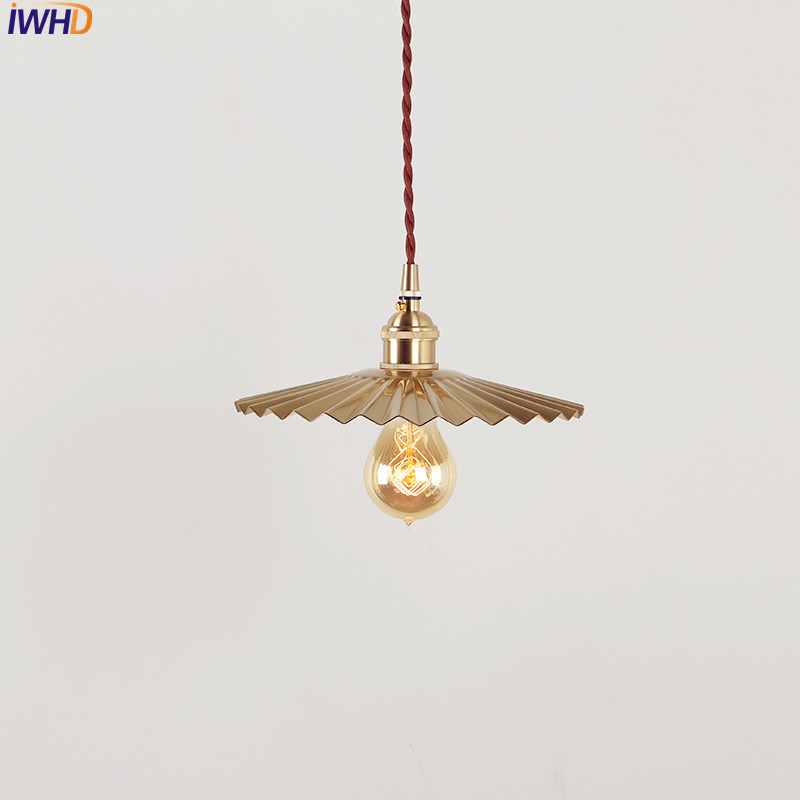 IWHD Vintage Nordic Style Copper Pendant Lamp LED Dinning Living Room Japanese Creative Hanglamp Home Indoor Lighting Edison vintage edison pendant lamps with one head which height could be adjusted best matching indoor dinning room living room bed room