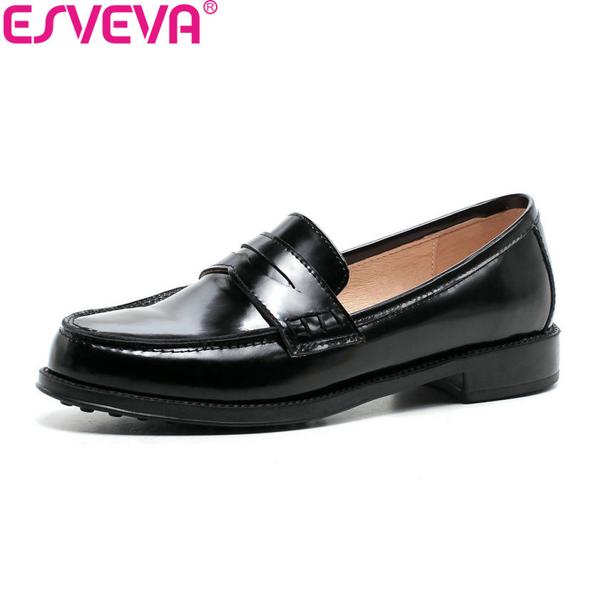 ESVEVA 2018 Women Pumps Spring and Autumn Square Low Heels Slip on Cow Patent Leather PU Round Toe Black Ladies Shoes Size 34-39 egonery spring air slip on round toe square low heels office women shoes pumps woman shoe plus size 40 43