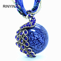 Bohemia Necklace Vintage Style Fashion Jewelry Round Opal Pendant Peacock with Crystal Necklace BX019