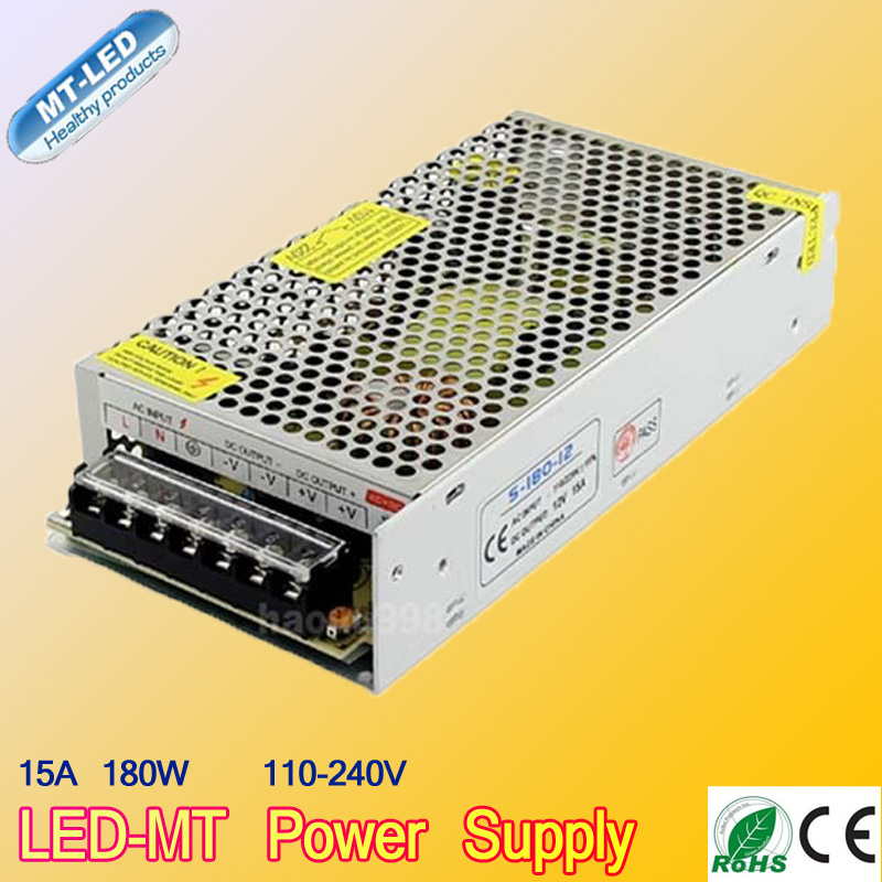 12V 15A 180W 100 240V Lighting Transformers Switching Switch Power Supply for 3528 5050 5730 LED