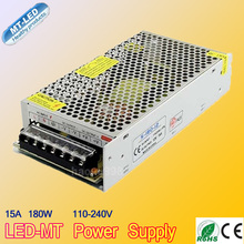 12 V 15A 180 W 100-240 V Iluminación Transformadores de Conmutación del Interruptor de Alimentación para 3528 5050 5730 LED Luces de tira Del Envío libre