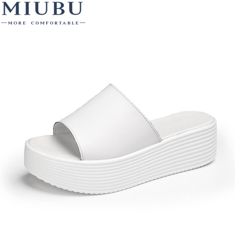 MIUBU Sandals Women wedge Shoes High Heel Slippers Summer Shoes Woman Slip on Platform Slides soft comfortable Flip Flops in Slippers from Shoes