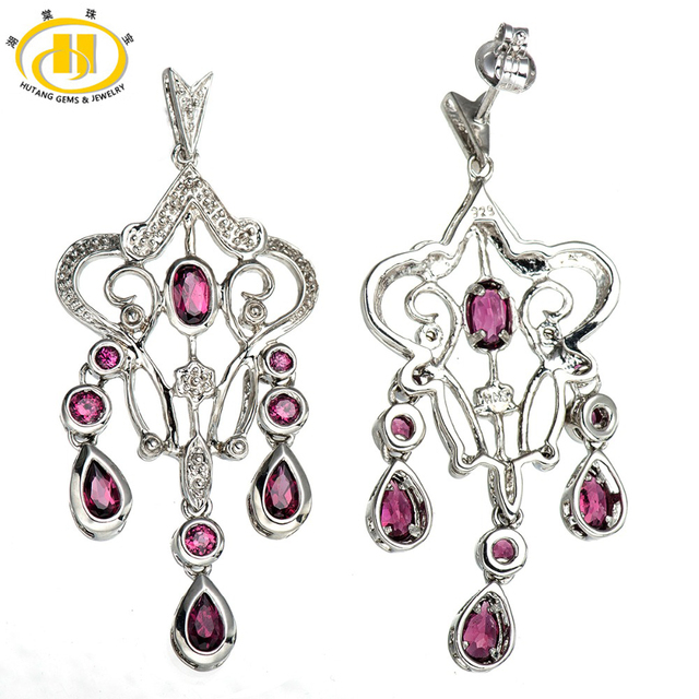 Hutang Luxury Natural Rhodolite Garnet Solid 925 Sterling Silver Dangle Earrings Fine Jewelry for women Party Vintage Style