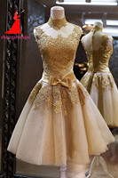 Real Pictures Hight Neck Gold Lace Appliques Homecoming Dresses 2018 Knee Length Lace Appliques Cocktail Dress