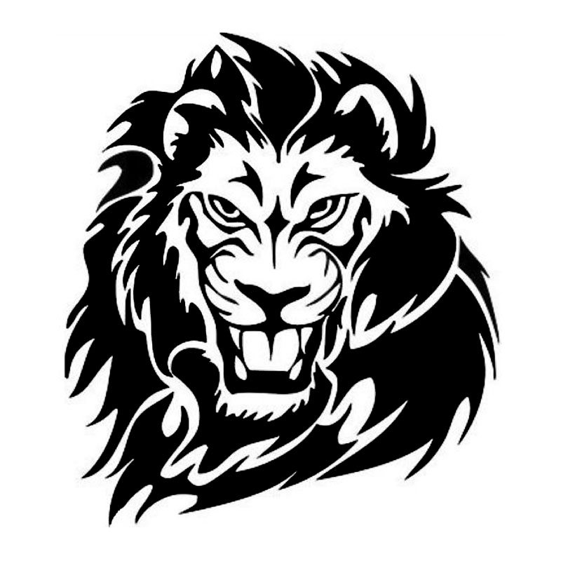 15.7*17.8CM Mighty Lion Wild Animal Car Sticker Hunter Vinyl Car Body Decal Decoration Black/Silver S1-2583