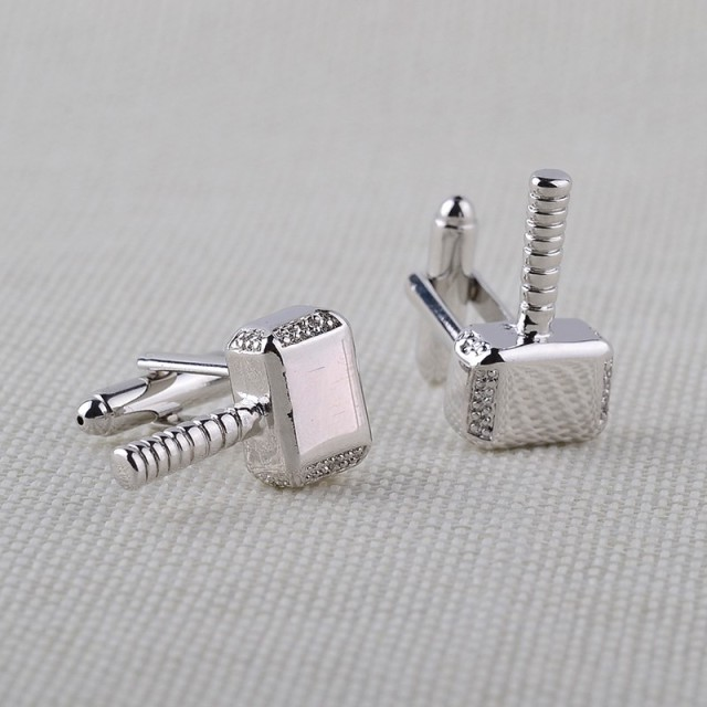 Thor Hammer Metal Cuff Links Button Marvel Avengers Comics Superhero Luxury Cufflinks Shirt Cufflink Unisex