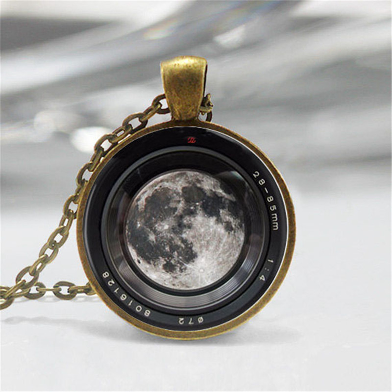 Moon in a Camera lens Necklace  1