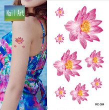 Temporary Tattoos Waterproof Tattoo Stickers Body Art Painting For Party Decoration Roseo Yellow Lotus Flower