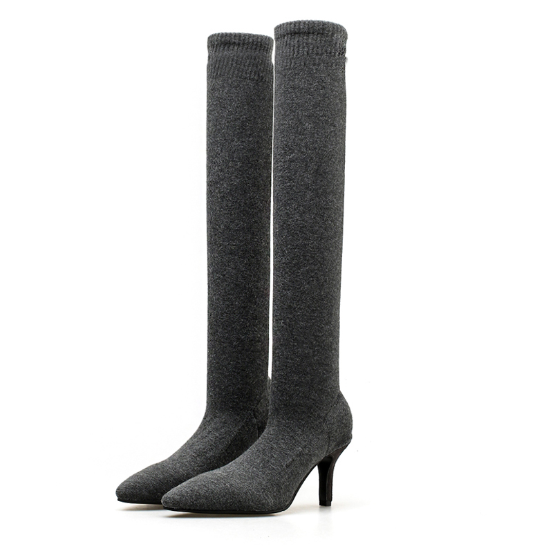 venta minorista bbc13 5865b US $38.59 |Sexy Knitting Elastic Over The Knee Boots Women Stiletto Heel  Thigh High Boots Fashion Botines Mujer Ladies Party Dress Shoes -in ...