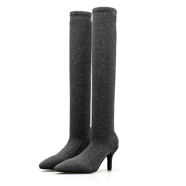 f06c2c09c Sexy Knitting Elastic Over The Knee Boots Women Stiletto Heel Thigh High  Boots Fashion Botines Mujer Ladies Party Dress Shoes
