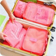 6 Pçs/set Caixas De Armazenamento de Viagem À Prova D' Água Sacos De Armazenamento Organizador para Roupas Íntimas Conjunto Recipiente Mulheres Sacos Saco Da Bagagem