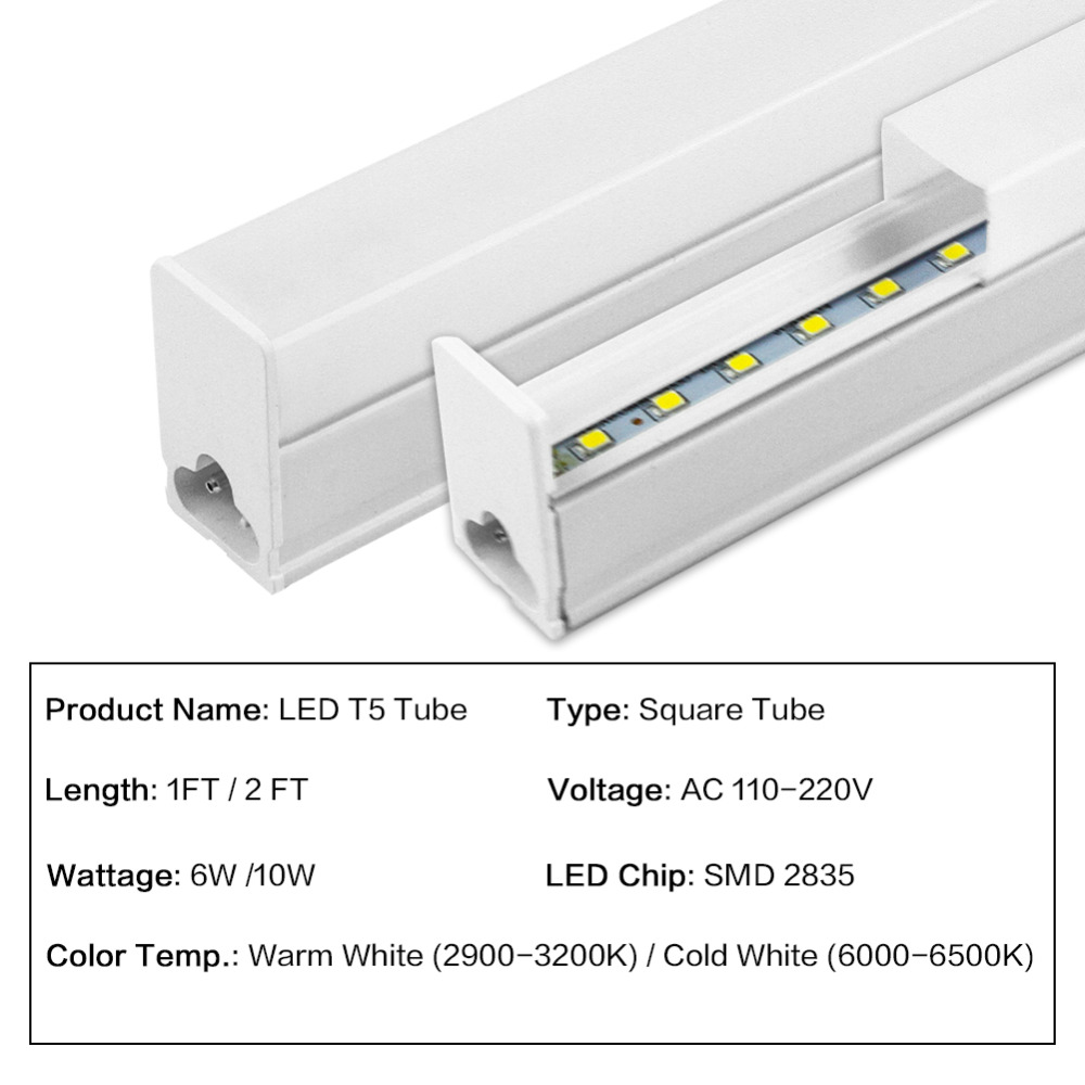 10 PACKs LED Integrated Tube T5 Light Wall Lamp 6W 10W Bulb Light 1FT 2FT LED Fluorescent Tube Cold Warm White 110V 220V 2pcs set t5 led light tube ac85 265v 2 5w wall lamps 1ft led t5 tube fluorescent lamp lights connect cord power switch cable