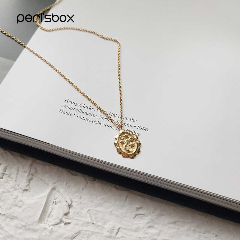 Peri'sBox Gold Color Tiny Moon Star Pendant Choker Necklaces 925 Sterling Sliver Oval Coin Chokers Necklaces Boho Layered Choker