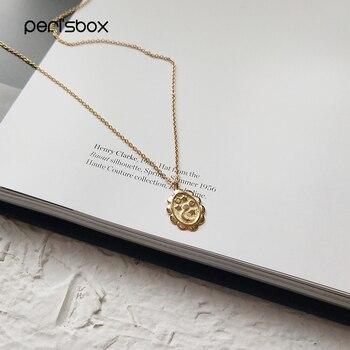 31449c782e73 Perisbox Color dorado diminuto Luna estrella colgante gargantilla collares  925 Plata de Ley ovalada monedas Chokers