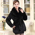 Large size M - 9XL natural wild rabbit fur coat with real fox fur collar middle age women's fur overcoat women winter coat g8925