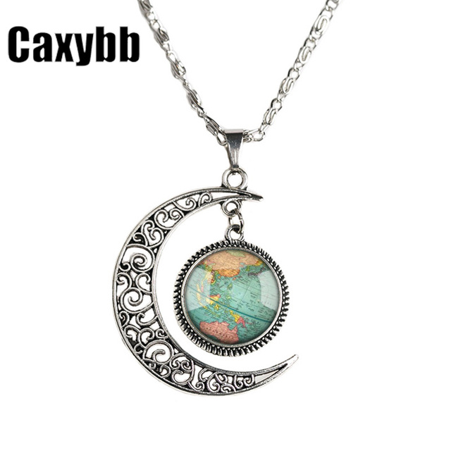 Caxybb glass dome jewelry vintage globe necklace planet earth world caxybb glass dome jewelry vintage globe necklace planet earth world map necklace moon necklace for men gumiabroncs Image collections
