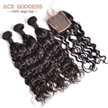 7A Grade Peruvian Natural Wave With Closure Free Middle 3 Part Human Hair Peruvian Lace Closure 3 Bundles With Closure 1 Pcs
