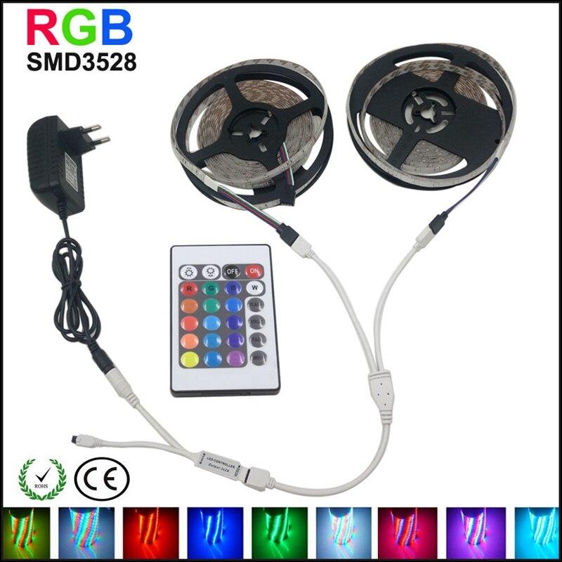 10M 600LEDS 3528 SMD RGB 2X5M LED Strip Light DC 12V Tape Ribbon Diode Flexible Waterproof 44 Key IR Remote Controller