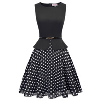 Chiffon Dress Midi Patchwork Polka Dot Vintage Elegant Belted A Line Vestidos Tunic Work Office Party