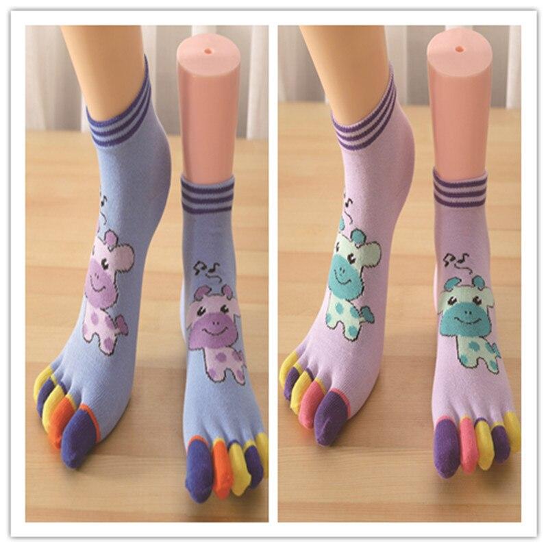 Cotton Sweat Absorption Breathable Socks Anti-skidding Antibiotics Five-fingered Socks and Toe Fashion Cartoon Socks Sox BAC810