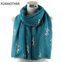 FOXMOTHER New Teal Pink Yellow Floral Tree Branches Foil Gold Scarf Shawl Wraps Foulard Hijab Glitter Scarves Ladies Women
