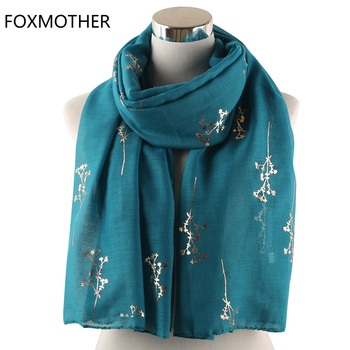 FOXMOTHER New Teal Pink Yellow Floral Tree Branches Foil Gold Scarf Shawl Wraps Foulard Hijab Glitter Scarves Ladies Women foxmother 2019 new design shiny navy pink grey foil sliver floral scarf glitter hijab muslim wrap echarpe bufanda scarves women