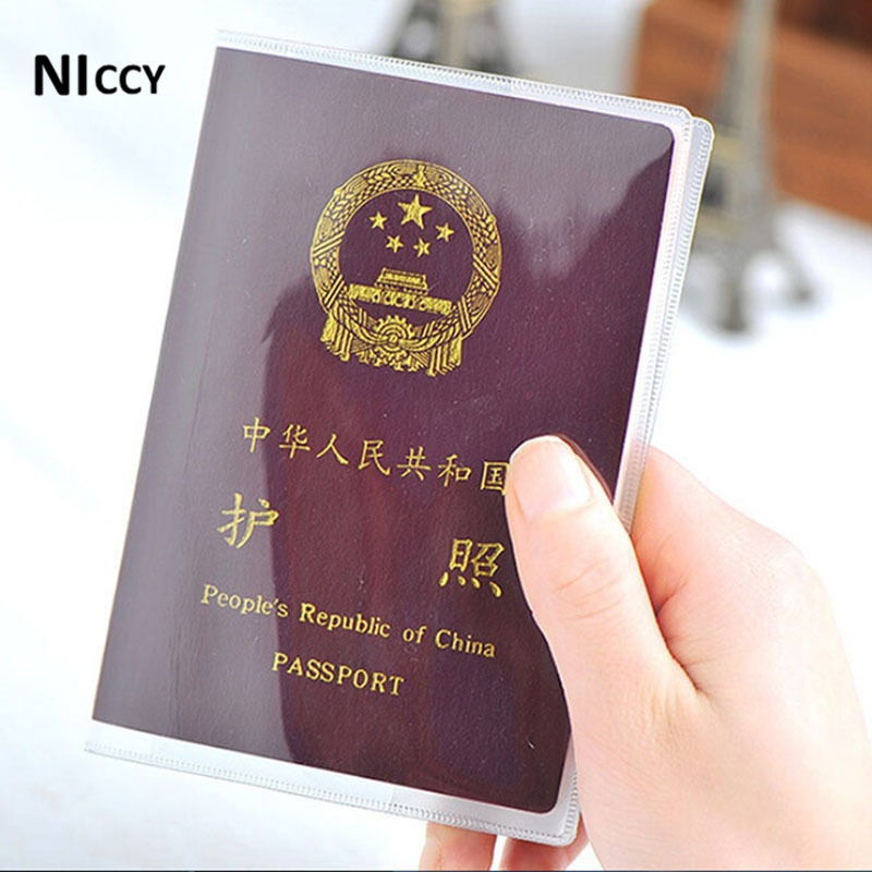2pcs PVC Transparent Passport Cover Storage Waterproof ID Card Holders Bank/Business/Credit Card Holder Travel Office Organizer