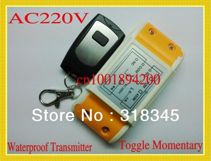 AC220V RF sans fil système de commutateur de commande à distance 1 Récepteur et 1 Émetteur Apprentissage du code 315/433 MHZ pour LED Light Lamp ON/OFF