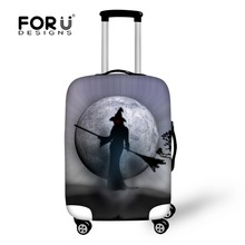 FORUDESIGNS Durable Luggage Protective Cover Halloween Print Travel Luggage Covers Suitcase Protective Cover To 18-28 Inch Case
