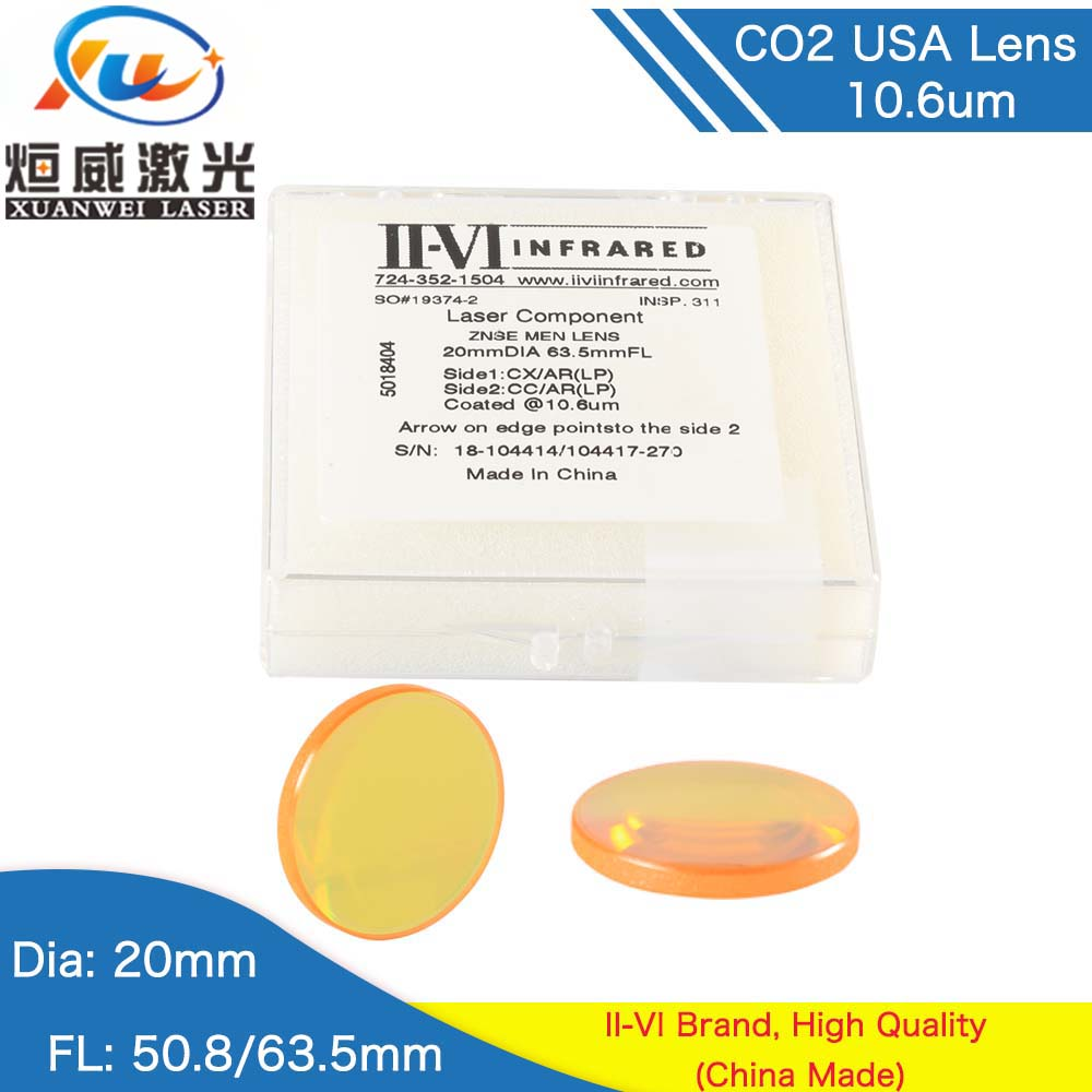 USA II-VI ZnSe Focus Lens DIa 19.05mm 20mm FL 50.8-101.6mm 2-4 CO2 Focus Focusing Lens for CO2 Laser Engraving Cutting MachineUSA II-VI ZnSe Focus Lens DIa 19.05mm 20mm FL 50.8-101.6mm 2-4 CO2 Focus Focusing Lens for CO2 Laser Engraving Cutting Machine