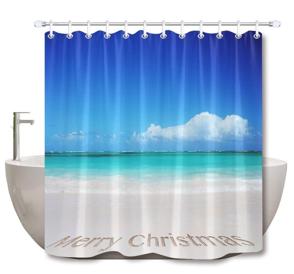 LB 3d Clear Tropical Beach And Merry Christmas Text In The Sea Sand Shower Curtain Mat Bathroom Fabric For Bathtub Decor
