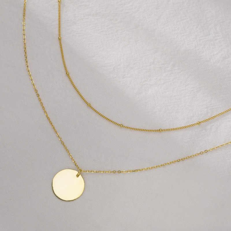 Fengxiaoling 100% Genuine 925 Sterling Silver Doppio Strato Rotondo Collane Con Pendente Per Le Donne Simplefine Della Collana Dei Monili