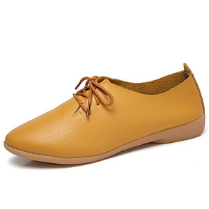 Женская обувь на плоской подошве из натуральной кожи, женская модная повседневная комфортная обувь, однотонная Летняя обувь на шнурках, женская обувь