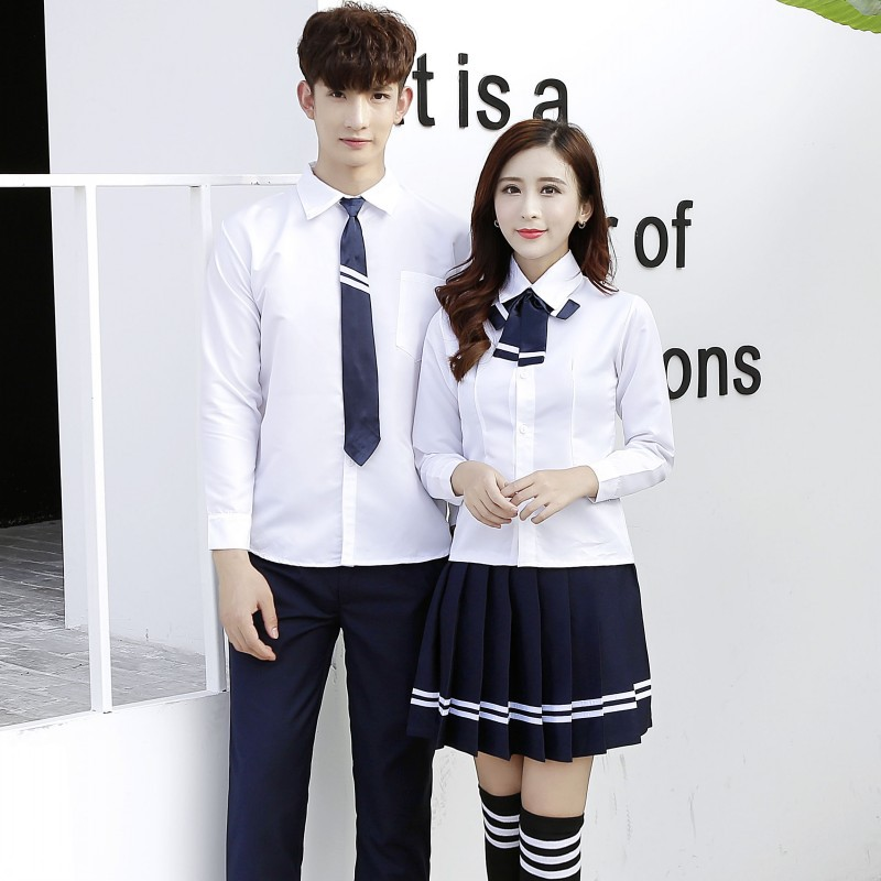 Students Sailor School Uniforms Academic Colleges Clothes High School Long Sleeve Japanese Navy Suit Couple Set 3pcs B-0218