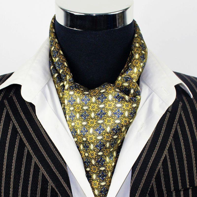 Fashion Brand New Mens 100% Silk Scarf Long Silk Scarf Cravat Scarives Double Layer Yellow Dot ...