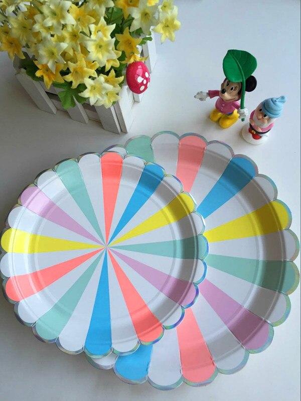 unidsset color del arco iris de rayas placas de papel para fiestas xpag