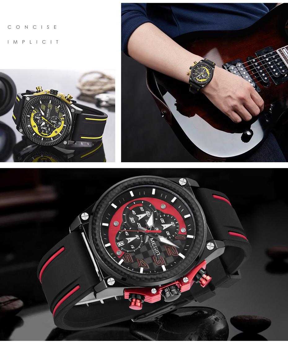Topdudes.com - MEGIR Military Fashion Silicone Strap Chronograph Quartz Sports Watch