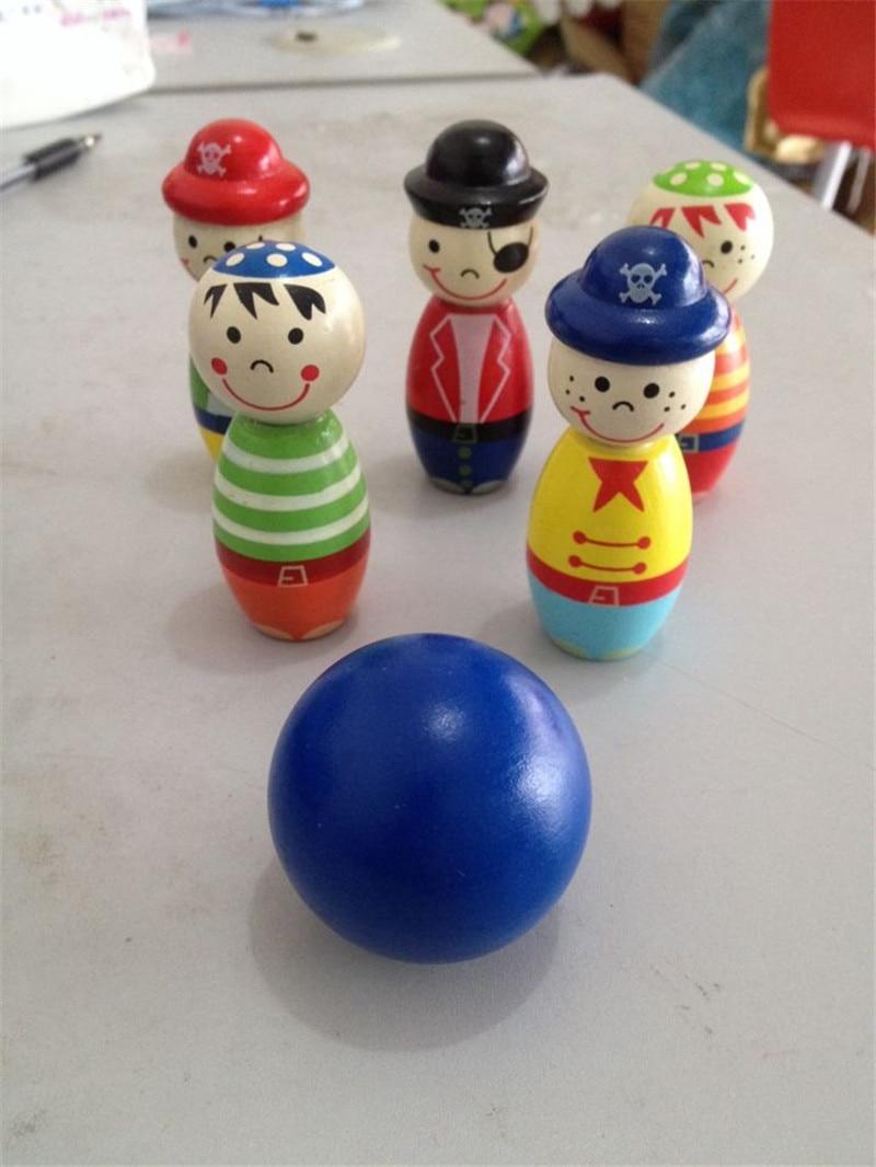 Jauna koka rotaļlieta Maza pirātu boulinga bērnu rotaļlietas koka rotaļlietas izglītojošas rotaļlietas dzīvnieks Boulinga bērnu dāvana Bezmaksas piegāde