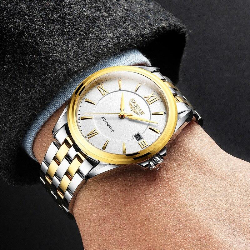 Original KASSAW hommes montres de luxe marque perpétuel calendrier Auto mécanique hommes horloge en acier saphir Relogio Masculino - 6