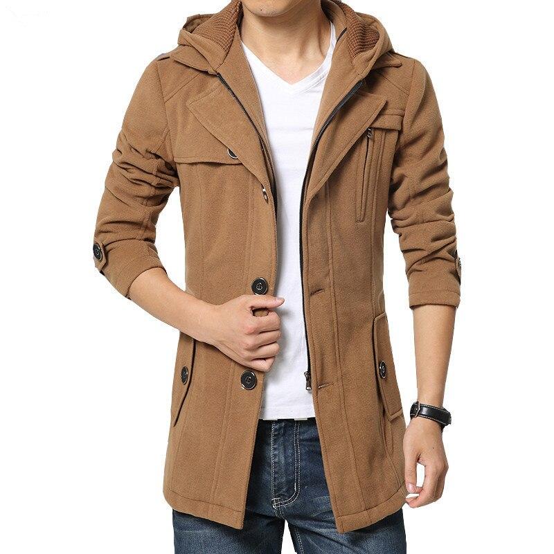 2017 New Arrival Brand-Clothing Winter Warm Men Coat Fashion Wool Blend Overcoat For Men Casual Hoodies Coat Men