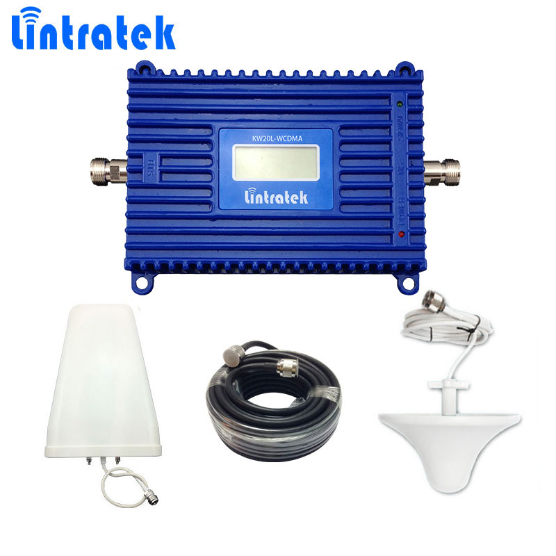Lintratek WCDMA 2100mhz Signal Booster 70db 3G Mobile Phone Signal Repeater UMTS 2100 LCD Display 3G Booster with 3G Antenna S35