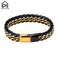 Genuine Leather Bracelets Stainless Steel For Men Punk Jewelry Magnetic Buckle Braided Chain Superior Quality Male
