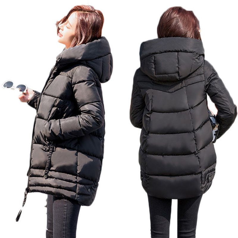 Winter Jacket Women   Parka   Casual Long Sleeve Down Cotton Plus Size Jacket Coat Outerwear Thick Hooded Slim Tops Jacket Coat Q589