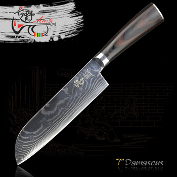 HAOYE 7 inch damascus Salmon knife Japanese kitchen santoku knives vg10 stainless steel cut fish meat vegetable wood handle new