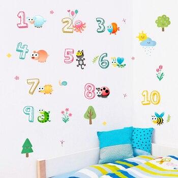 Pegatinas de pared de números arábigos 1-10 para decoración de habitaciones de niños, lindos animales de PVC para el hogar, pegatinas de decoración para habitación de clase DIY para pared